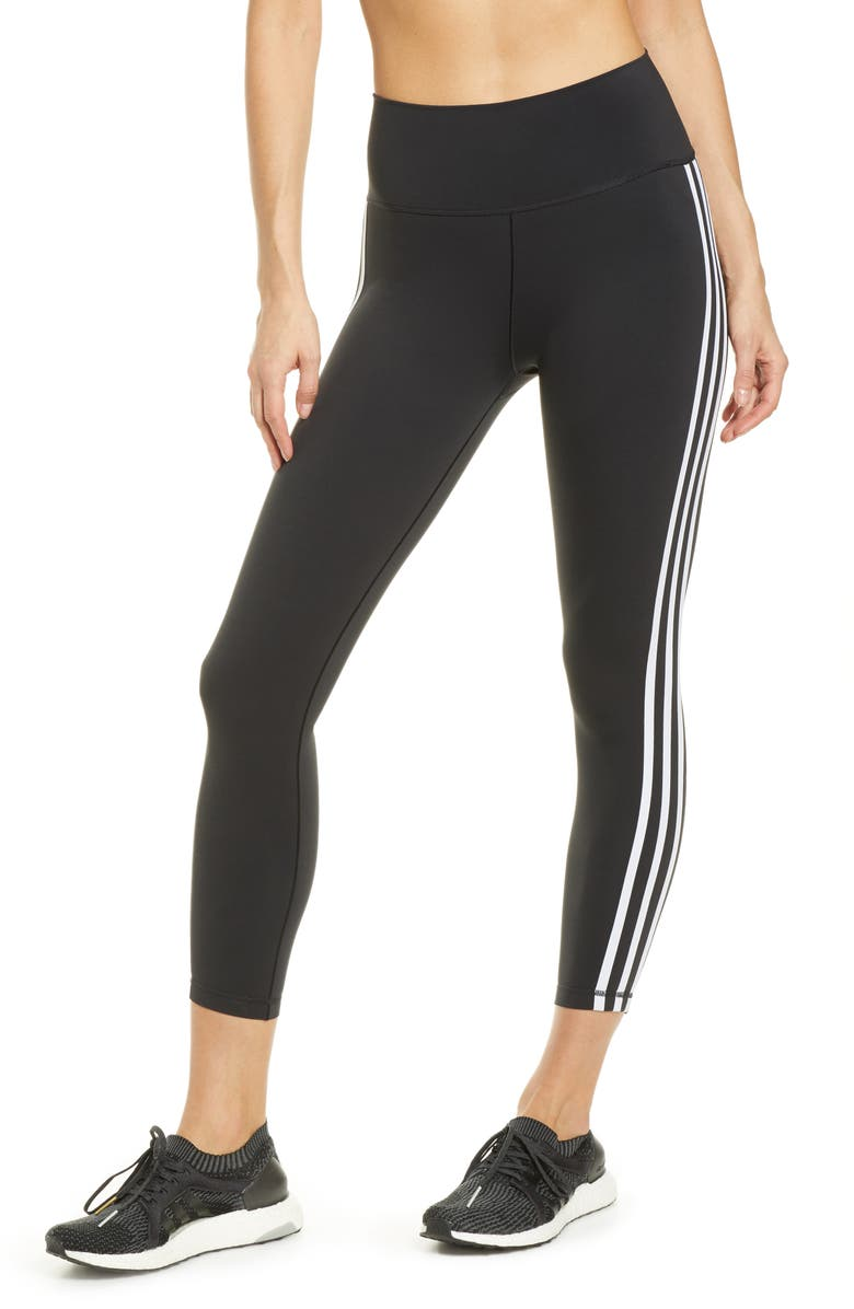 ADIDAS Believe This High Waist 3-Stripes 7/8 Tights, Main, color, 001