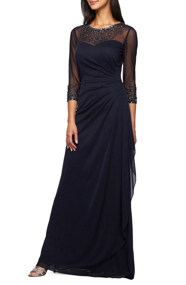 ALEX EVENINGS Embellished Chiffon Gown, Main, color, DARK NAVY