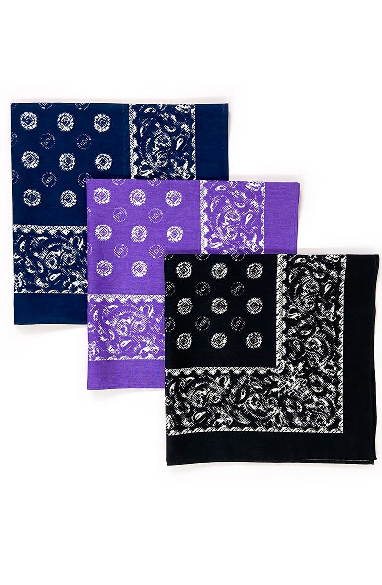 CONSTRUCT Paisley Printed Unisex Adult Bandana - Pack of 3, Main, color, MULTI