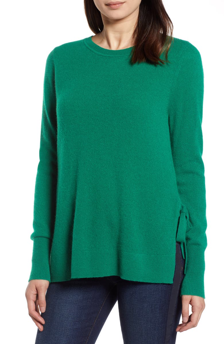 HALOGEN<SUP>®</SUP> Side Tie Cashmere Sweater, Main, color, GREEN ULTRA