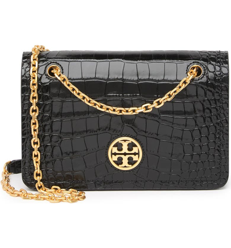 TORY BURCH Carson Convertible Croc Embossed Leather Crossboby Bag, Main, color, BLACK