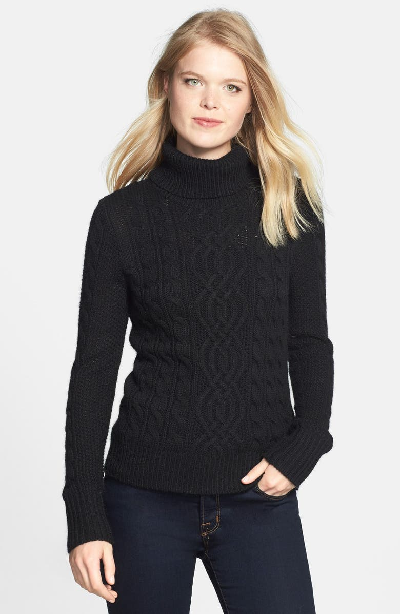 HALOGEN<SUP>®</SUP> Cable Knit Turtleneck Sweater, Main, color, 001