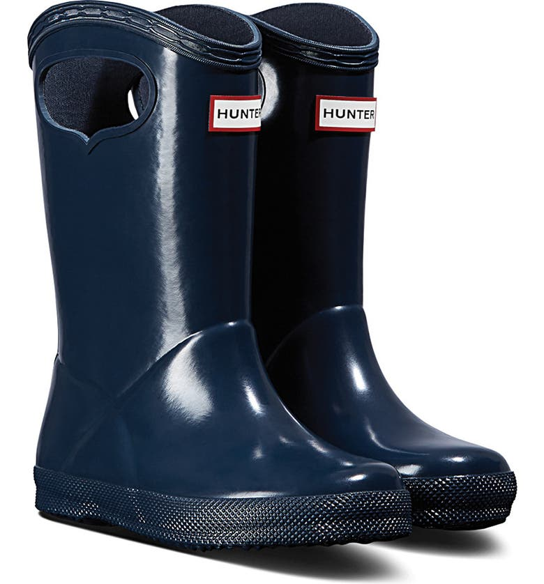 HUNTER First Classic Pull-On Waterproof Rain Boot, Main, color, NAVY
