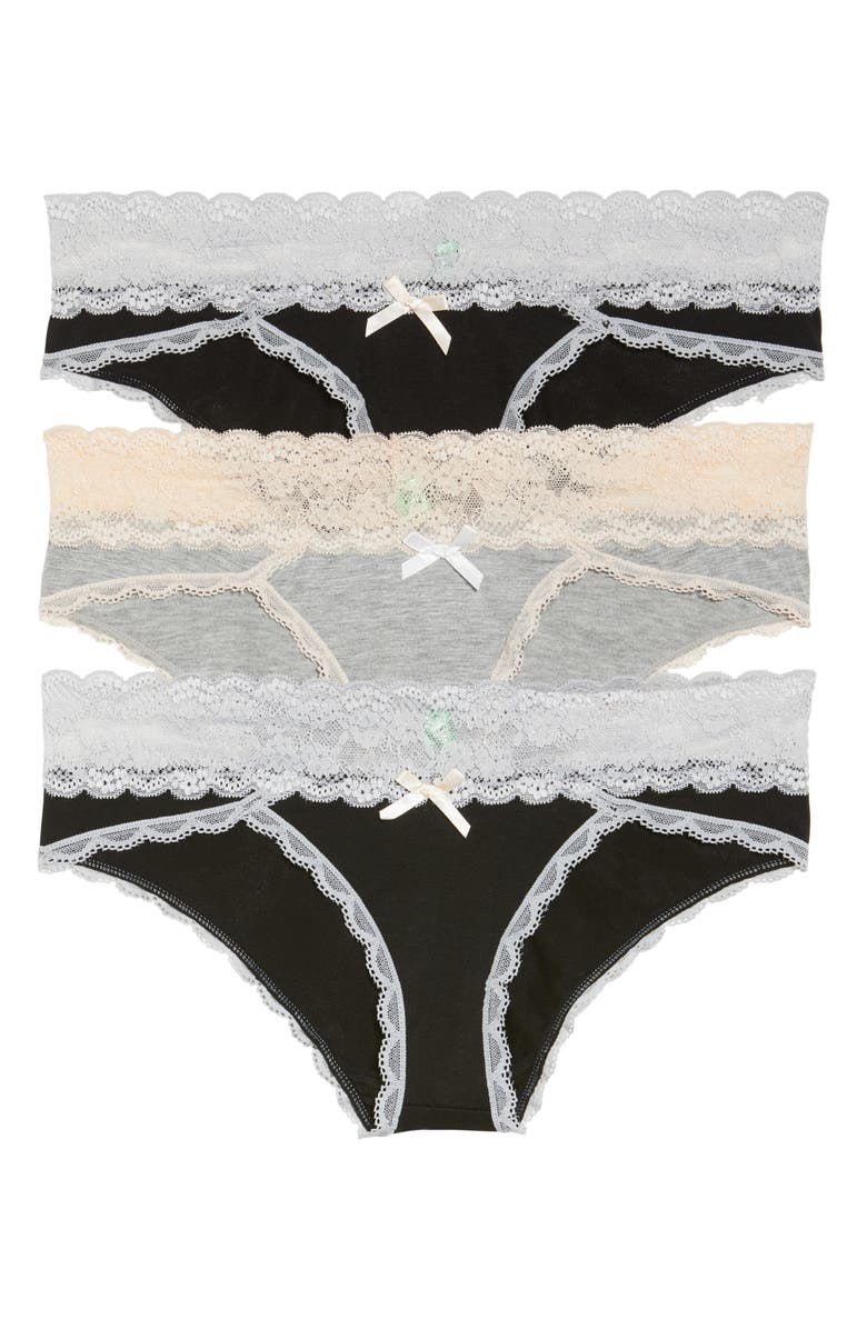 HONEYDEW INTIMATES Ahna 3-Pack Hipster Panties, Main, color, BLACK/ HEATHER GREY/ BLACK