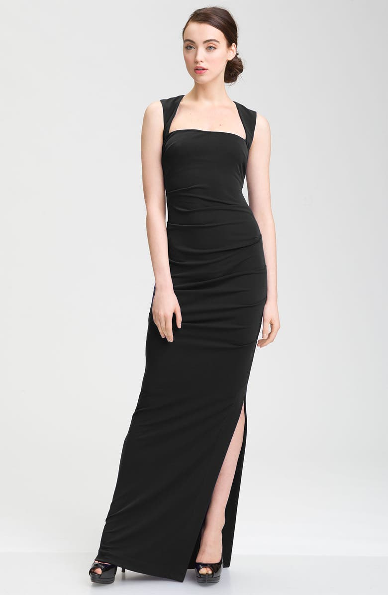NICOLE MILLER Open Back Jersey Gown, Main, color, 001