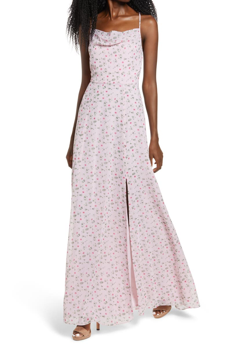 WAYF The Wesley Cowl Neck Gown, Main, color, ROSE DITSY FLORAL