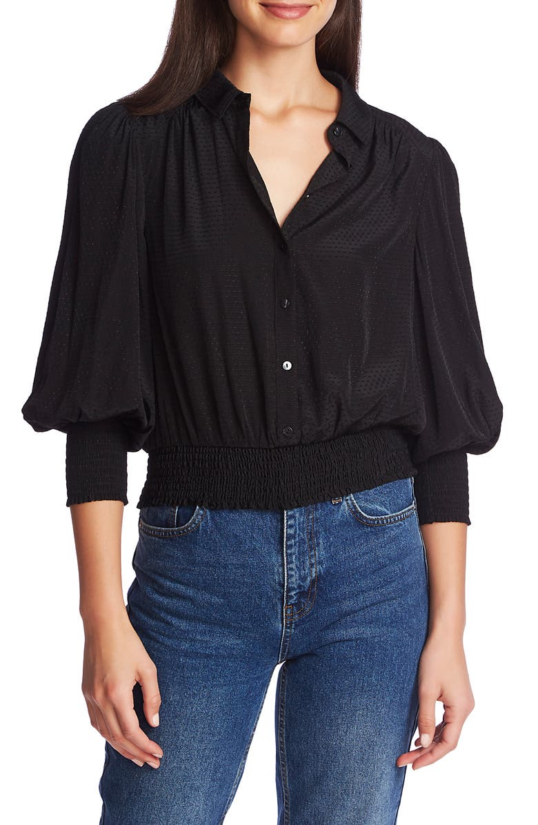 1.STATE Dot Jacquard Smocked Waist Button Front Top, Main, color, 001