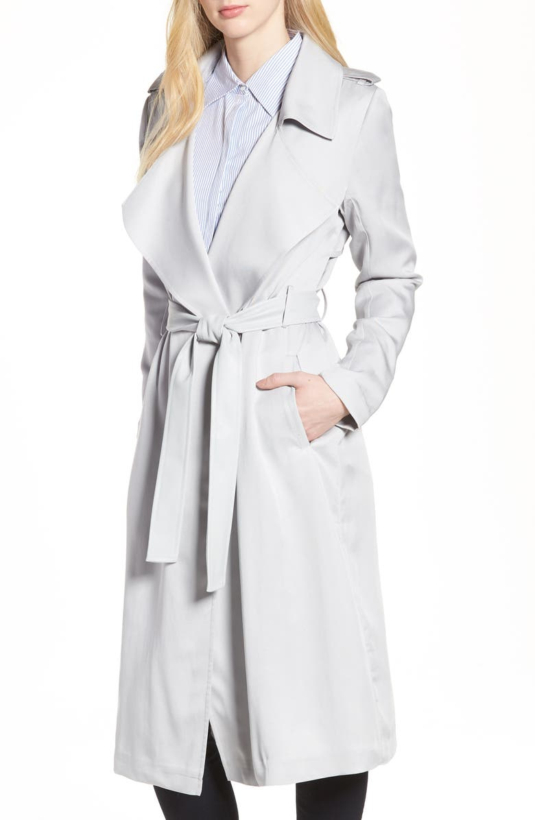 BADGLEY MISCHKA COLLECTION Badgley Mischka Faux Leather Trim Long Trench Coat, Main, color, 020