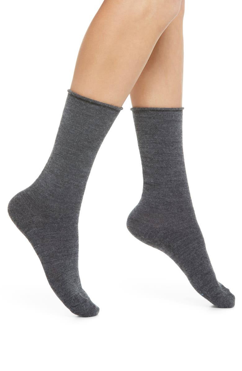 NORDSTROM Merino Wool Blend Crew Socks, Main, color, CHARCOAL HEATHER