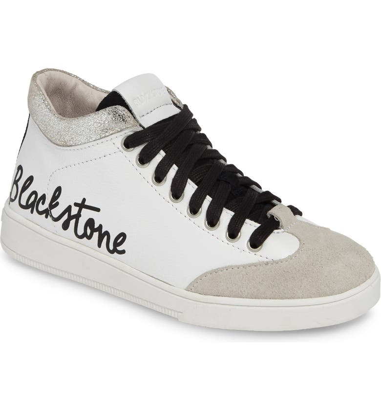 BLACKSTONE RL89 Mid Top Sneaker, Main, color, WHITE/ SILVER LEATHER