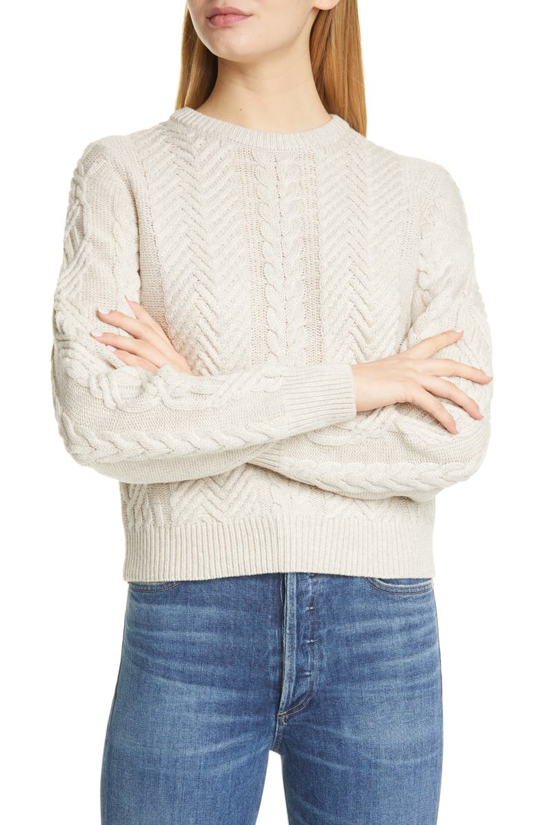 THEORY Cable Wool & Cashmere Crop Sweater, Main, color, 250