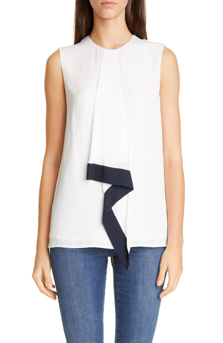 ST. JOHN COLLECTION Silk Georgette Sleeveless Blouse, Main, color, 101
