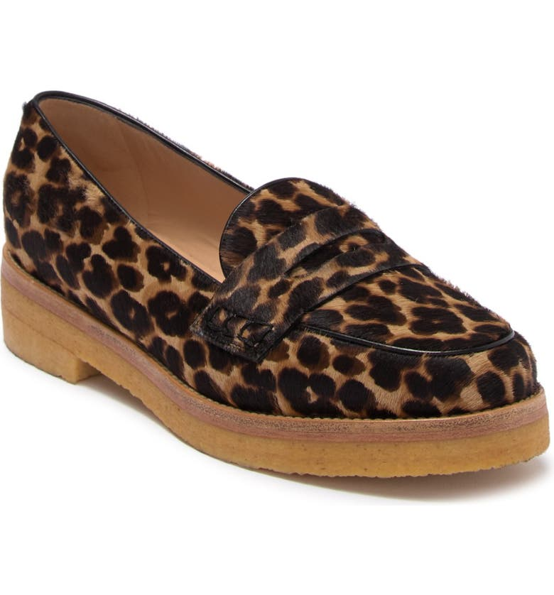 LONGCHAMP Le Pliage Heritage Genuine Calf Hair Penny Loafer, Main, color, CAMEL