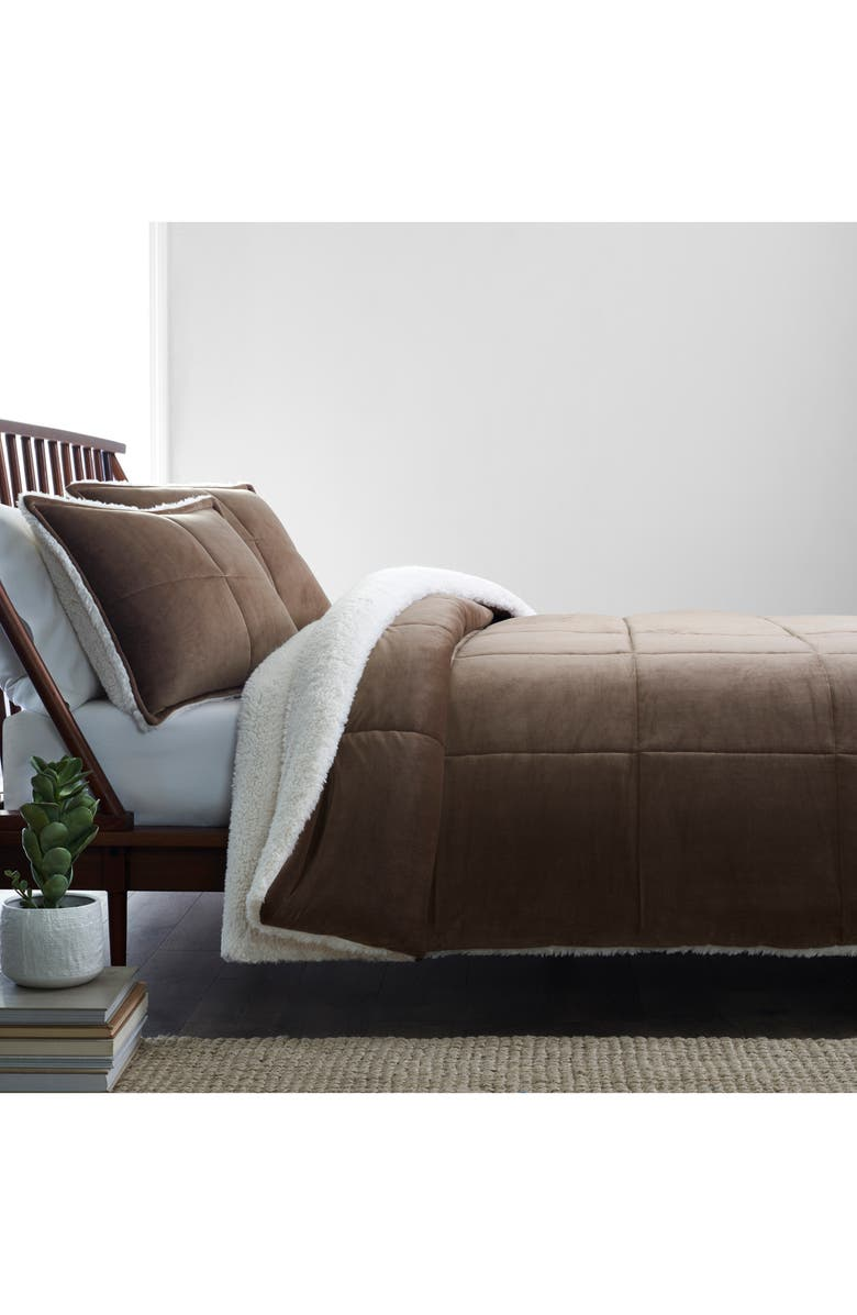 UGG<SUP>®</SUP> Blissful Reversible Quilted Fleece Comforter & Sham Set, Main, color, FAWN