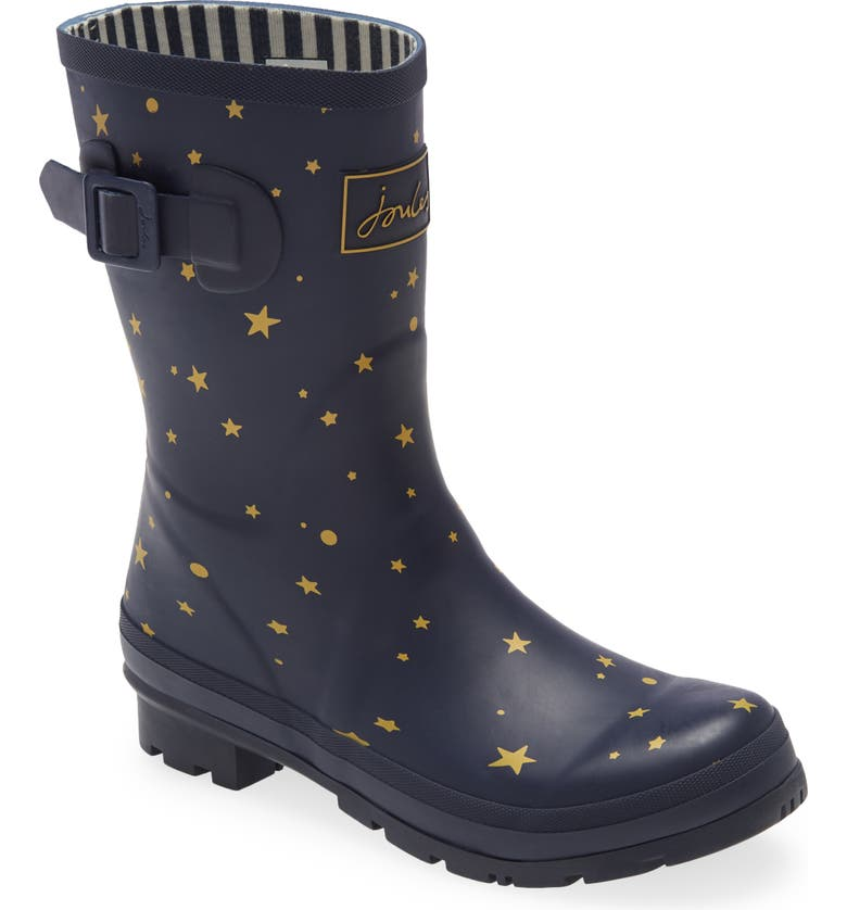 JOULES Molly Floral Print Welly Waterproof Rain Boot, Main, color, STARGAZE
