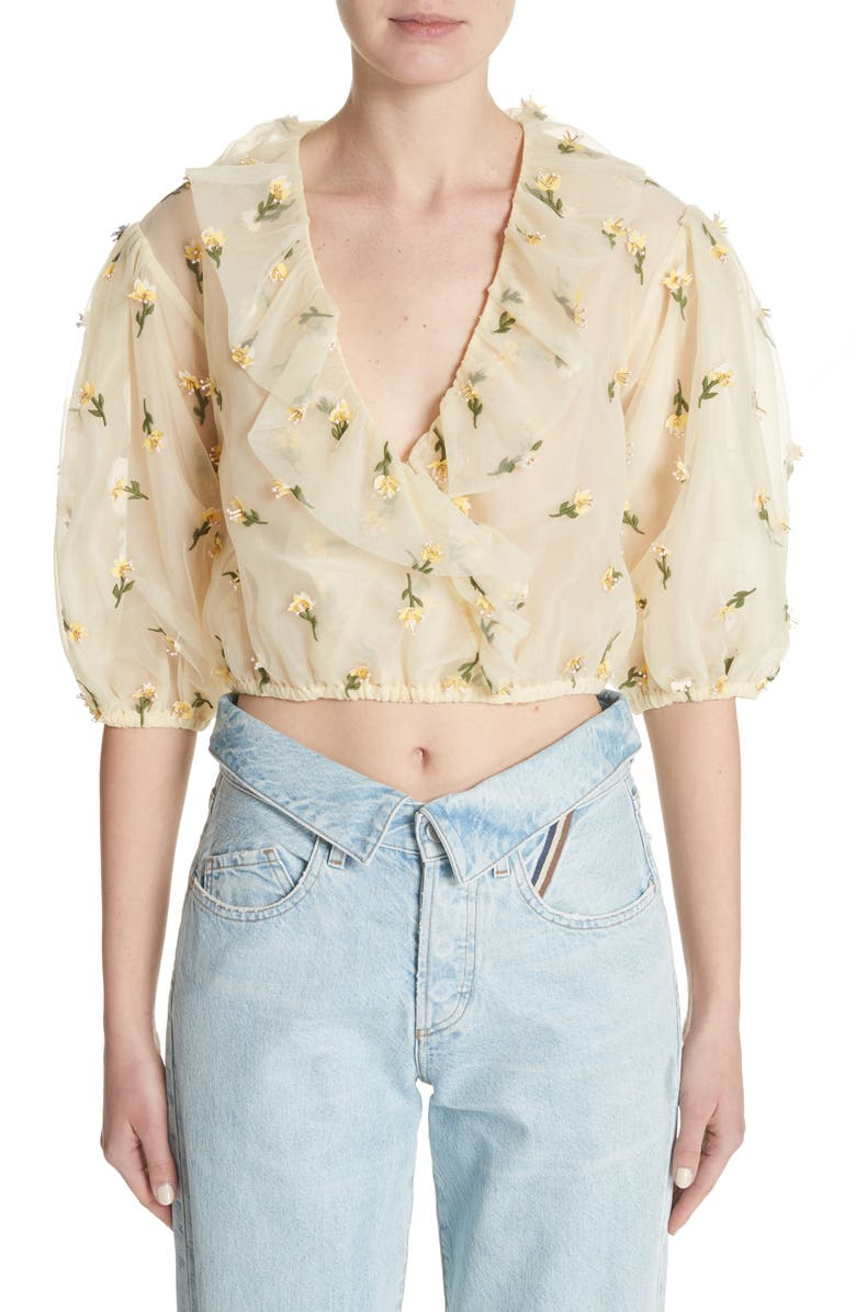 GANNI Bliss Embroidered Floral Wrap Top, Main, color, ANISE FLOWER