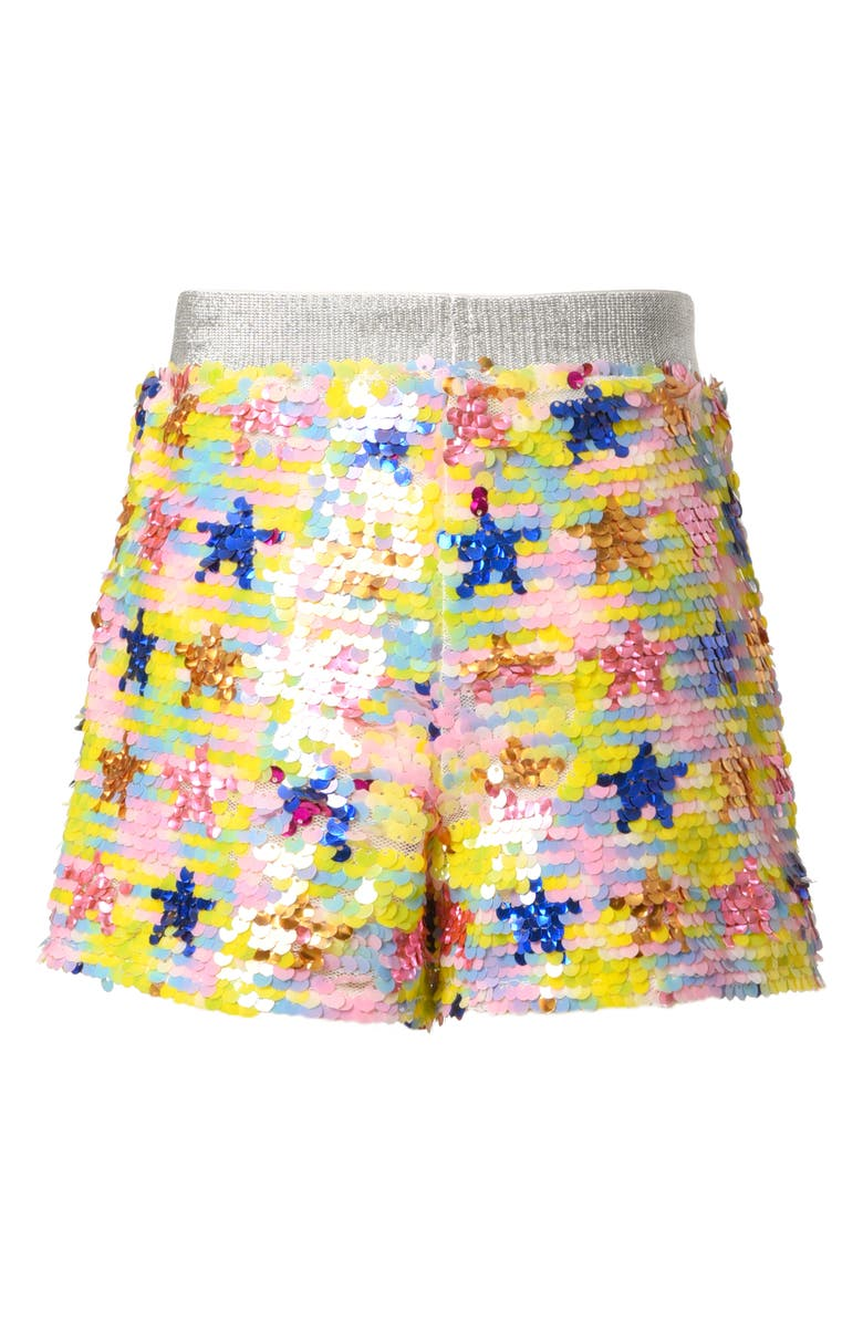 TRULY ME Kids' Sequin Star Shorts, Main, color, YELLOW MULTI