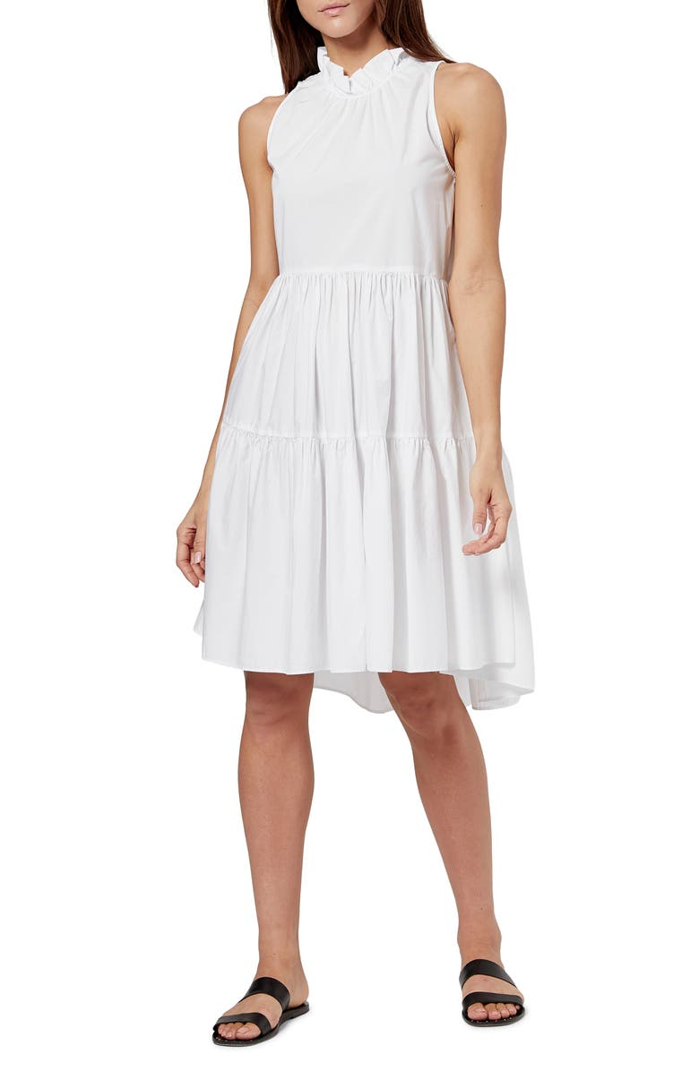 JOIE Carlo Tiered Poplin Dress, Main, color, CLEAN WHITE