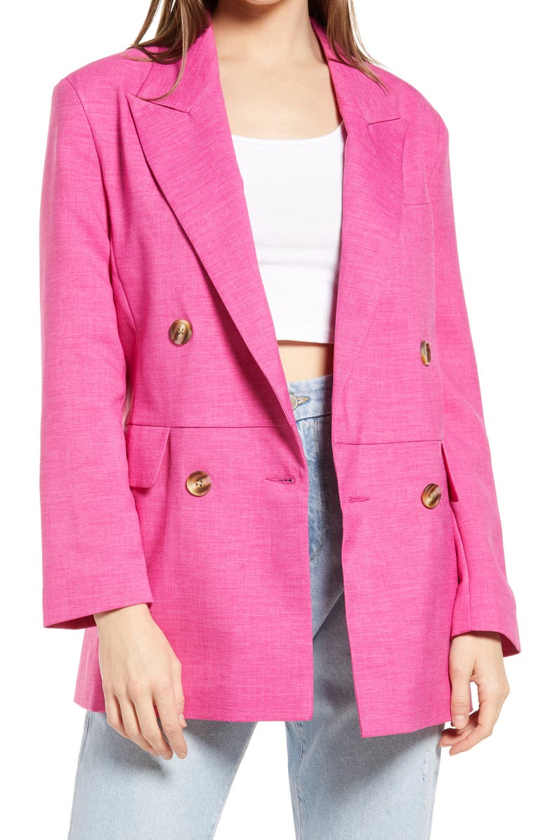 TOPSHOP Double Breasted Blazer, Main, color, 670