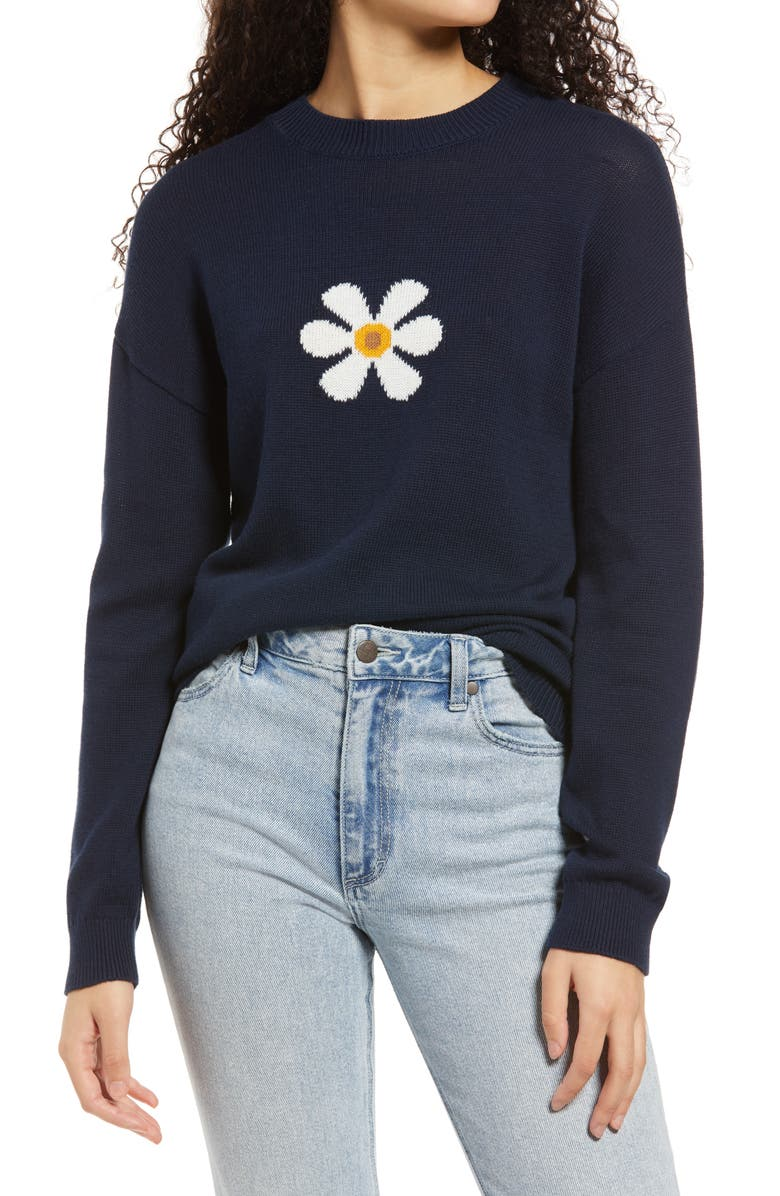 BP. Daisy Front Crewneck Sweater, Main, color, NAVY BLAZER DAISY