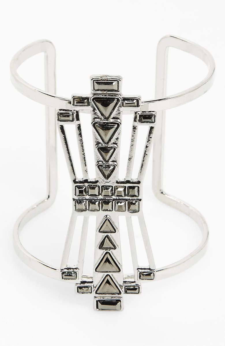SPRING STREET 'Gatsby' Deco Statement Cuff, Main, color, Silver