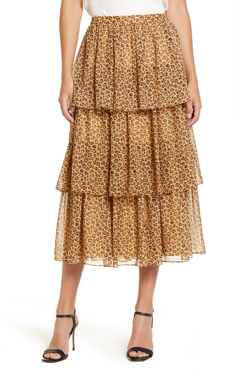 RACHEL PARCELL Print Tiered Ruffle Skirt, Main, color, TAN ANIMAL FLORAL