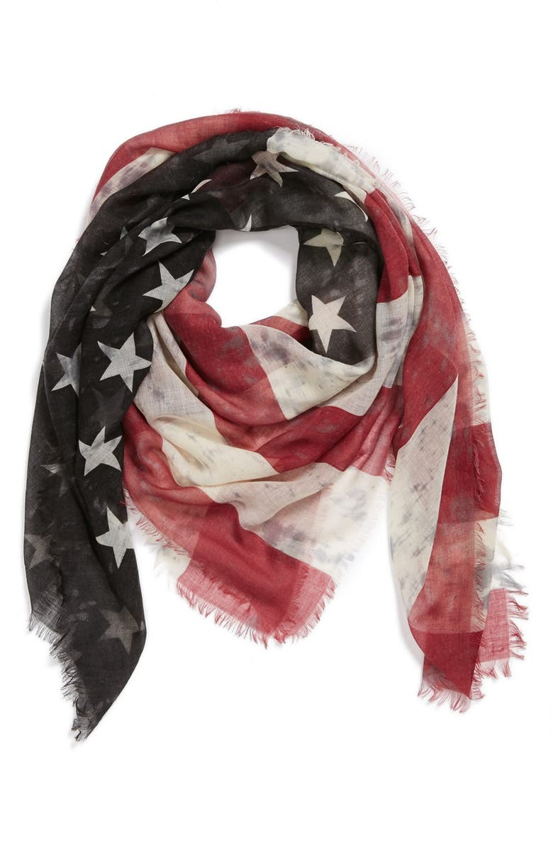 ROFFE ACCESSORIES American Flag Scarf, Main, color, 001