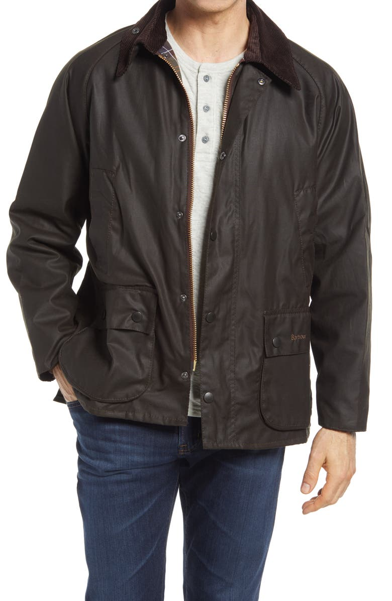 BARBOUR 'Bedale' Relaxed Fit Waterproof Waxed Cotton Jacket, Main, color, OLIVE