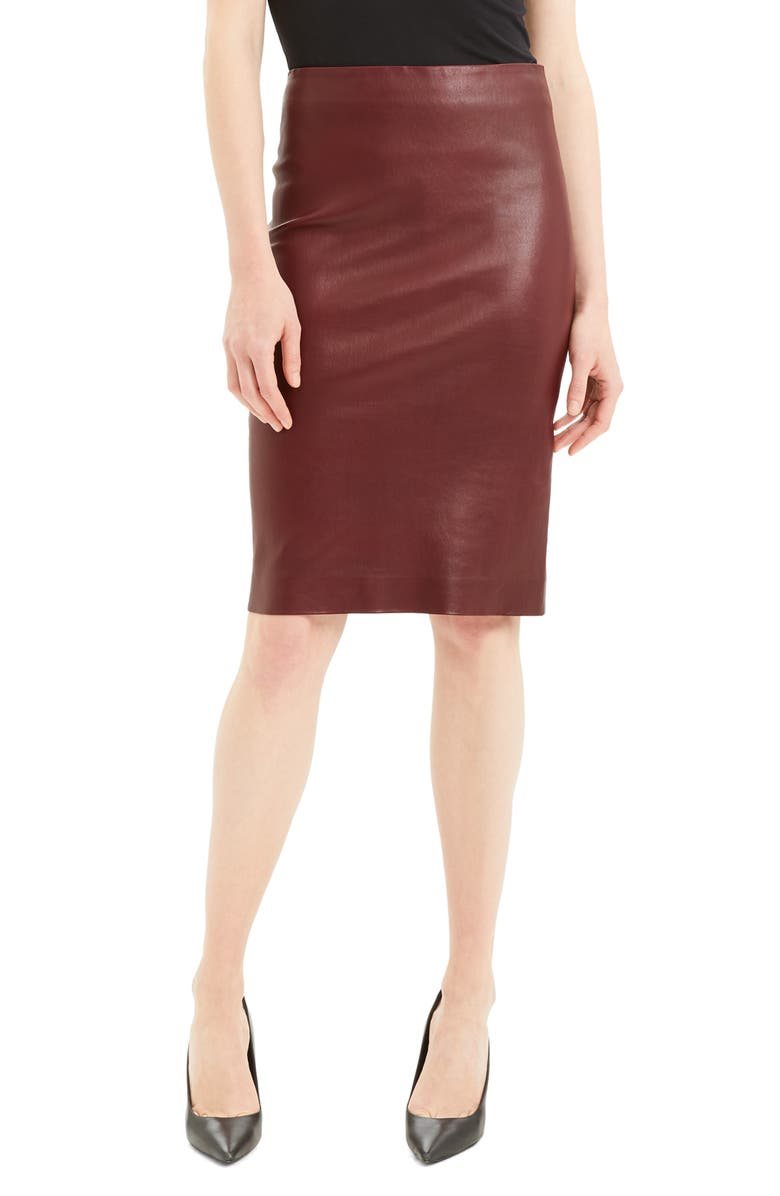 THEORY Leather Skinny Pencil Skirt, Main, color, MULBERRY