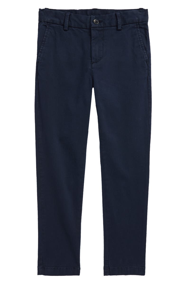 NORDSTROM Kids' Flat Front Chino Pants, Main, color, NAVY ECLIPSE