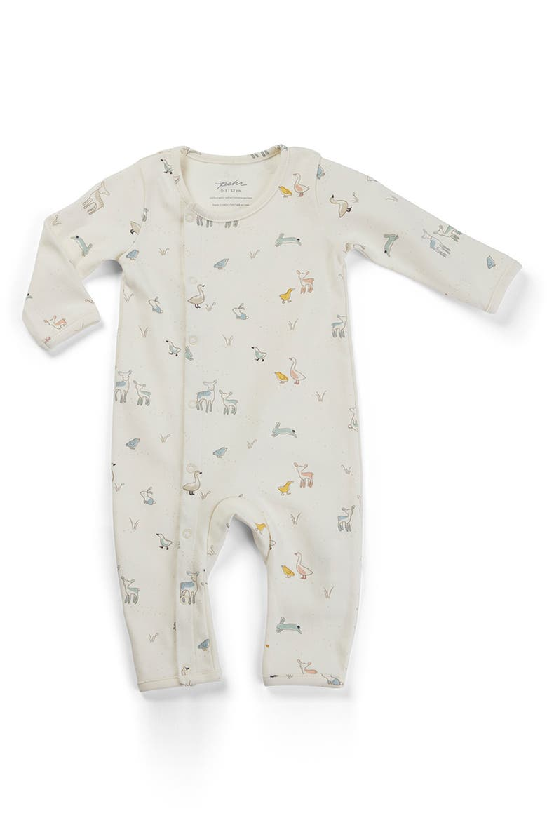 PEHR Just Hatched Organic Cotton Romper, Main, color, WHITE MULTI