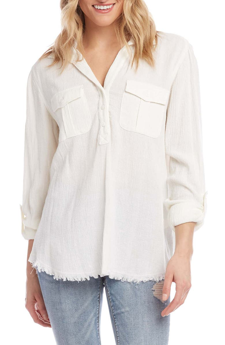 KAREN KANE Cotton & Linen Shirt, Main, color, 101