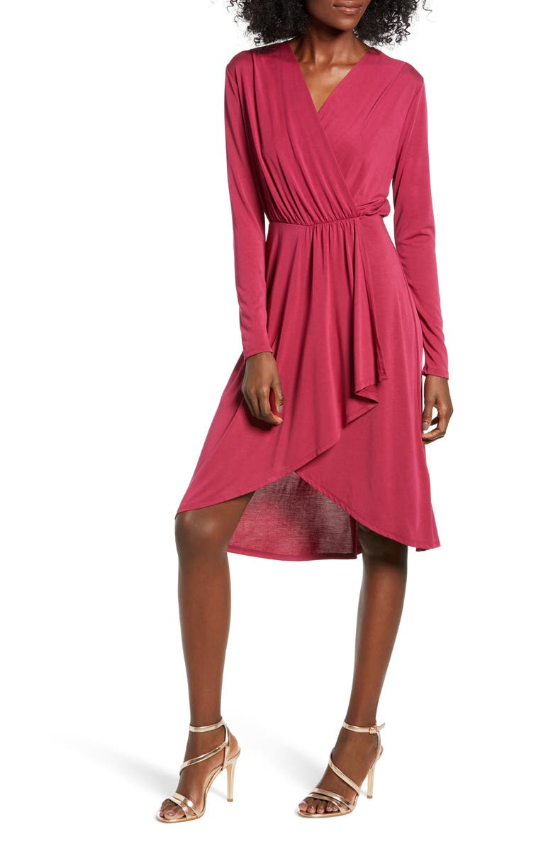 ALL IN FAVOR Faux Wrap Dress, Main, color, WINE