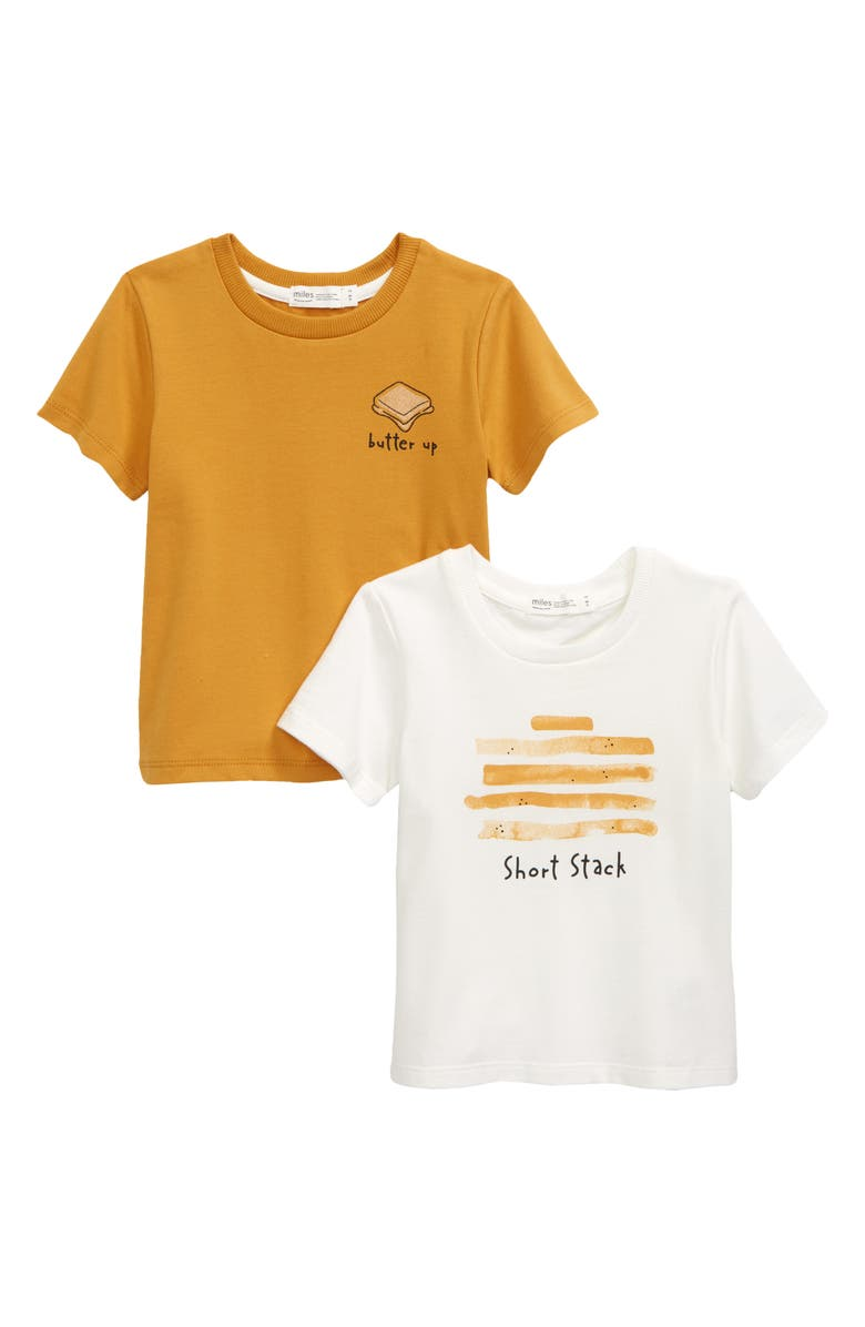 MILES Assorted 2-Pack Graphic Tees, Main, color, 101 OFF WHITE
