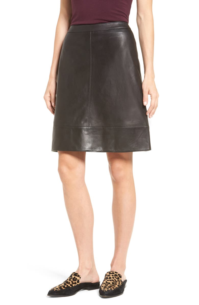 HALOGEN<SUP>®</SUP> A-Line Leather Skirt, Main, color, 001