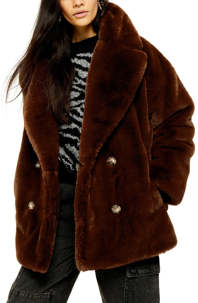 TOPSHOP Ally Faux Fur Double Breasted Jacket, Main, color, 200