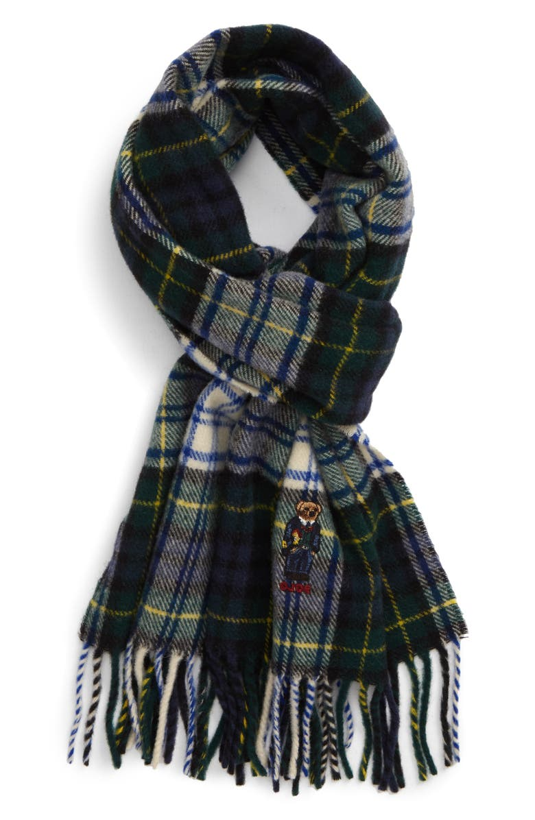 POLO RALPH LAUREN Embroidered Bear Tartan Wool Scarf, Main, color, 107