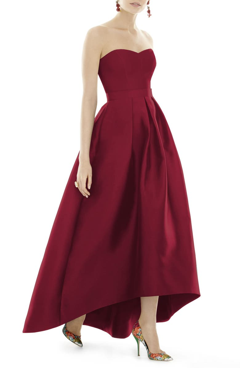 ALFRED SUNG Strapless High/Low Ballgown, Main, color, BURGUNDY