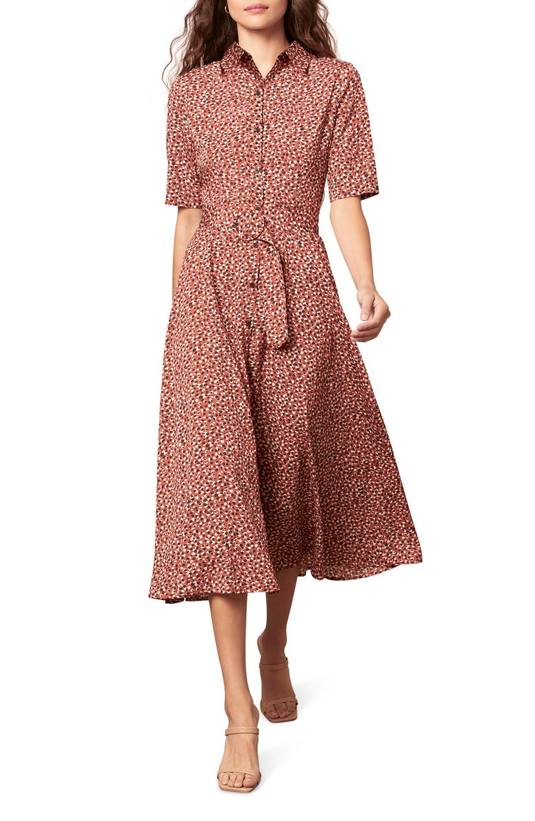 BB DAKOTA Confetti Print Midi Shirtdress, Main, color, 801