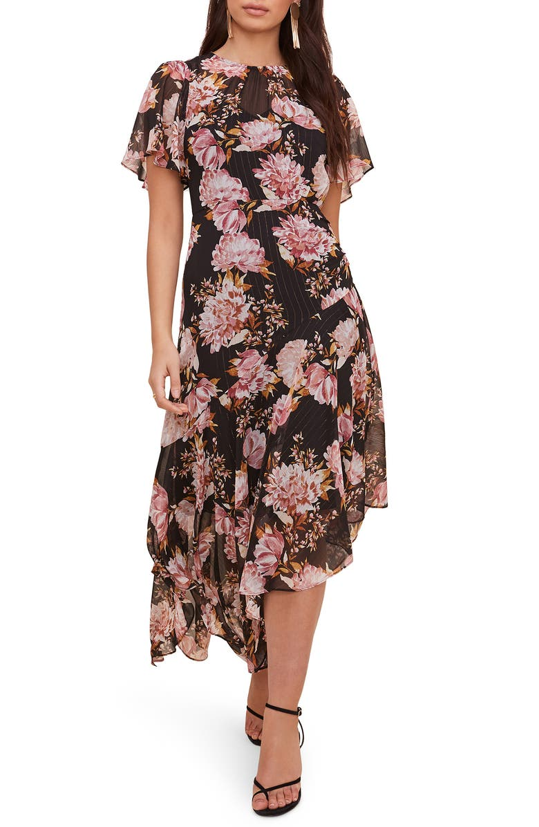 ASTR THE LABEL Floral Print Dress, Main, color, BLACK-PINK FLORAL