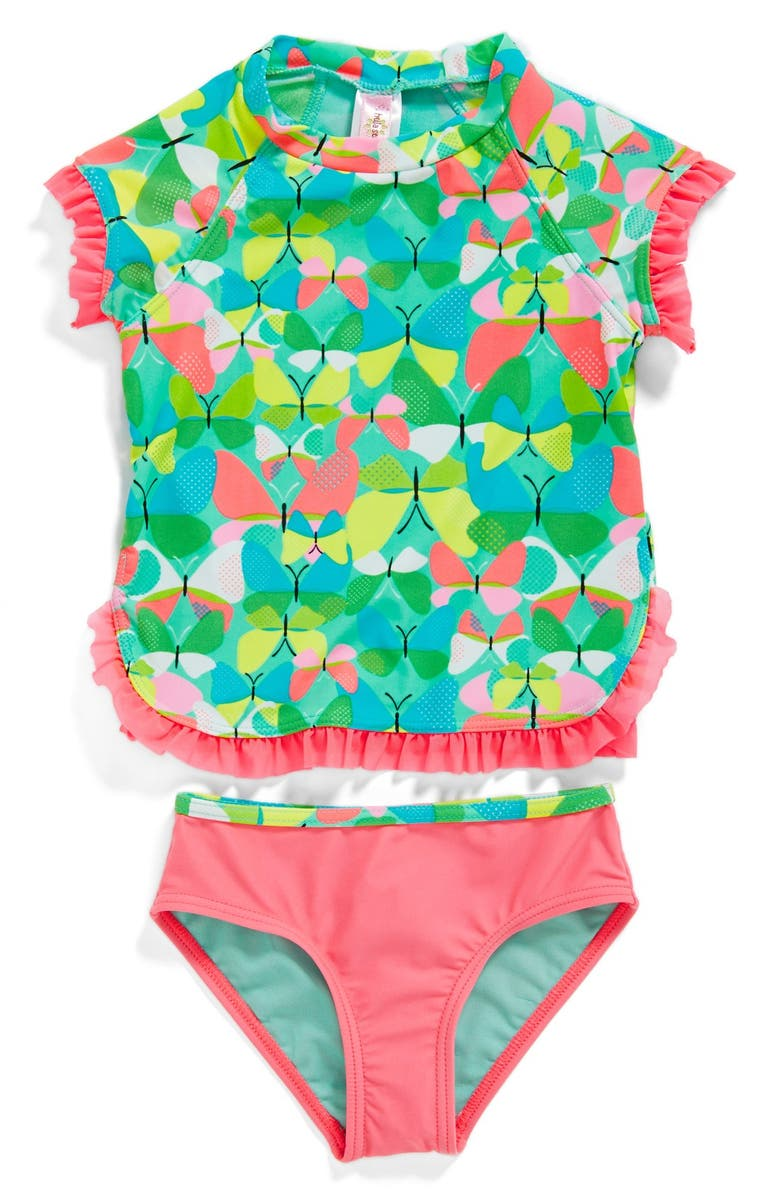 HULA STAR 'Butterflies' Two-Piece Rashguard Swimsuit, Main, color, 300