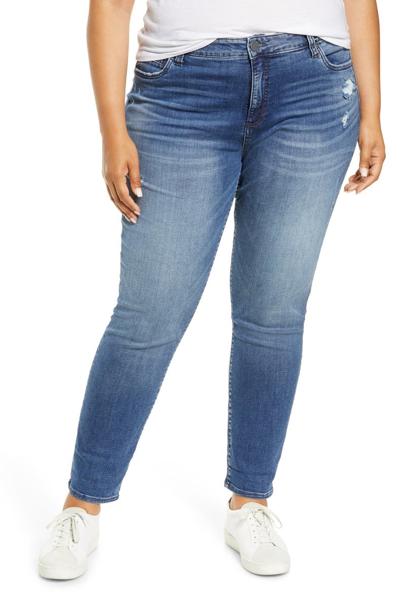 KUT FROM THE KLOTH Catherine Distressed Straight Leg Jeans, Main, color, MANNER