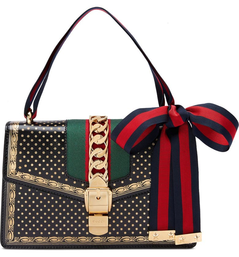 GUCCI Small Sylvie Moon & Stars Leather Shoulder Bag, Main, color, 001