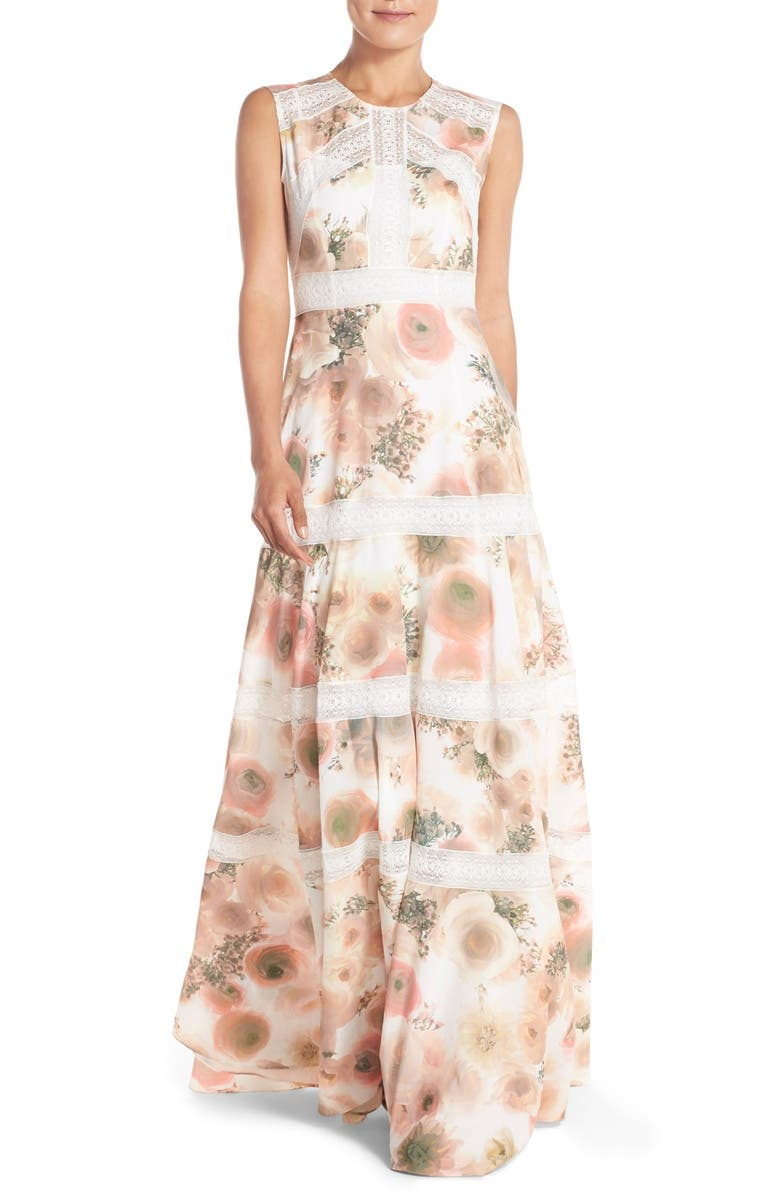 NEEDLE & THREAD Lace Accent Crepe Fit & Flare Gown, Main, color, PINK PEONY PRINT