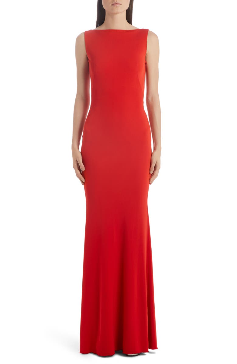 ALEXANDER MCQUEEN Ruched Back Jersey Gown, Main, color, 624