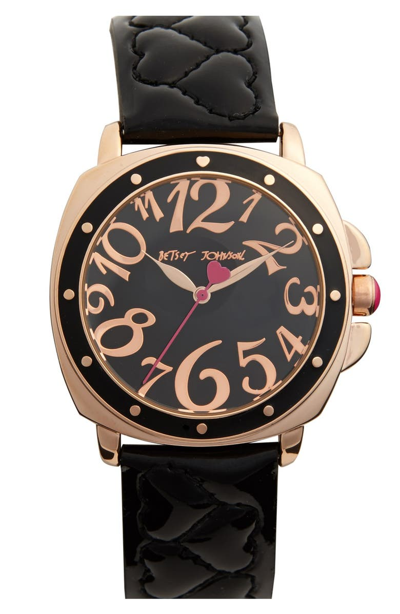 BETSEY JOHNSON 'Lots 'n' Lots of Time' Quilted Strap Watch, 37mm, Main, color, 001