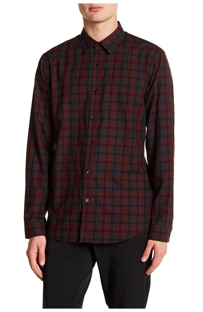 THEORY Trim Fit Plaid Twill Sport Shirt, Main, color, 616