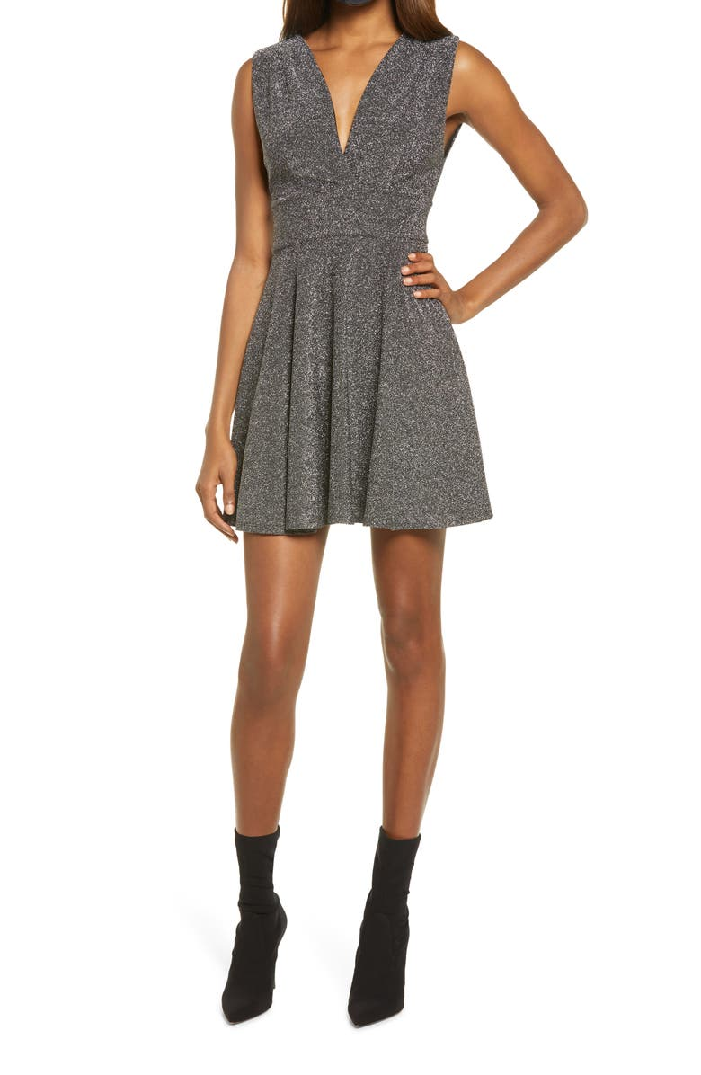 FRAICHE BY J Shimmer Deep V-Neck Fit & Flare Minidress, Main, color, SILVER
