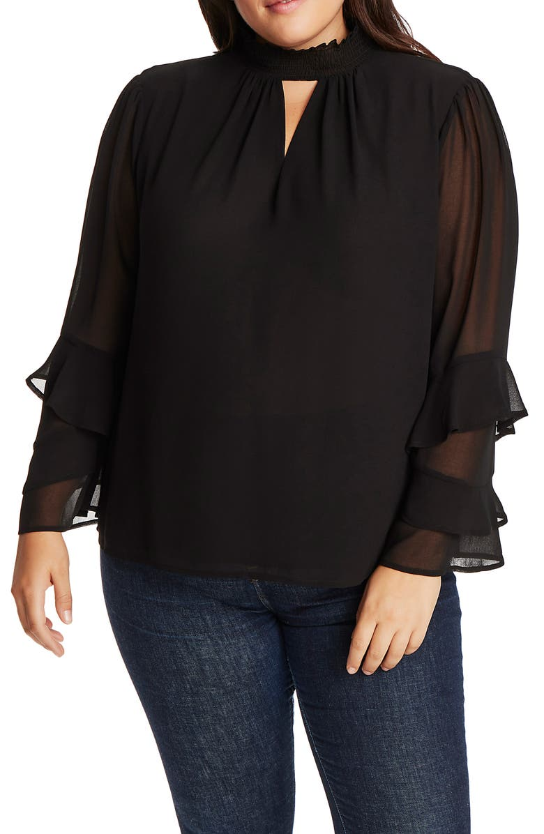 1.STATE Smock Neck Keyhole Detail Blouse, Main, color, 001