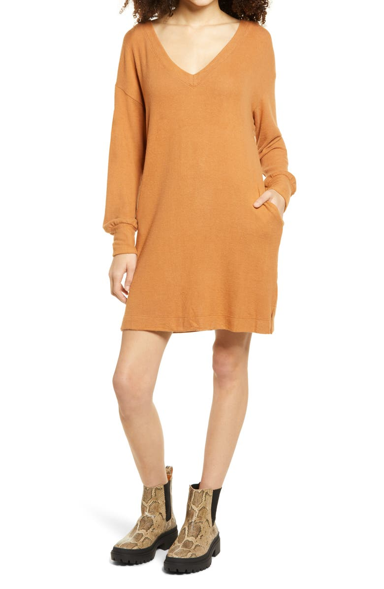 SOCIALITE Double-V Long Sleeve Knit Dress, Main, color, MEERKAT